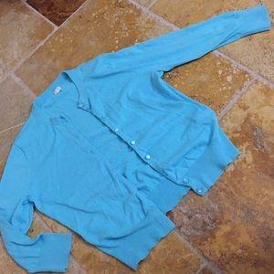 J. Crew Bright Turquoise cardigan/ribbed bottom